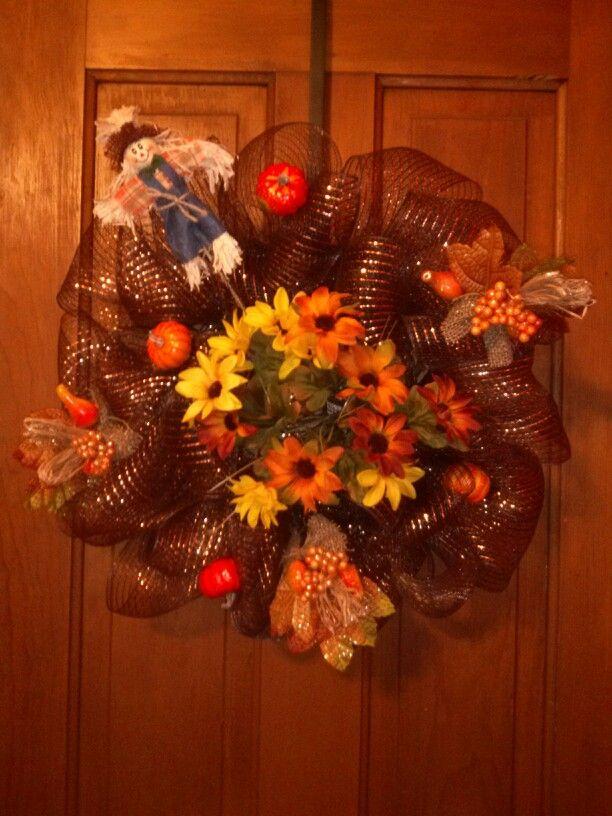 Fall scarecrow deco mesh wreath