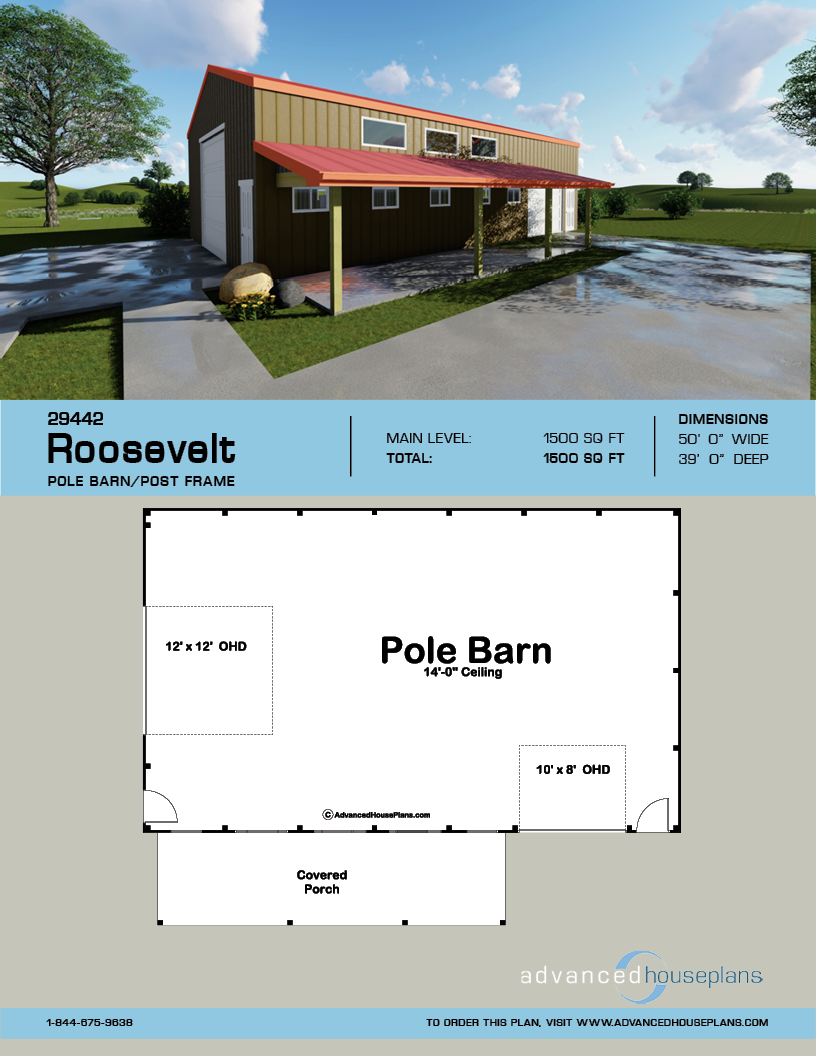 Pole Barn/Post Frame Plan | Roosevelt #polebarns