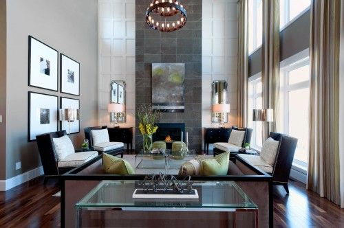 Tall Fireplace With Contrasting Textures High Ceiling Living Room Fireplace Design Living Decor