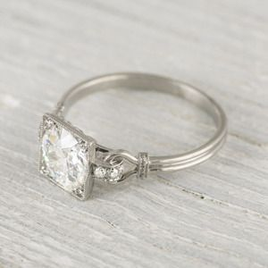 Jewelry Co. Vintage and Estate Jewelry Image of 1.57 Carat Vintage Art Deco Engagement Ring