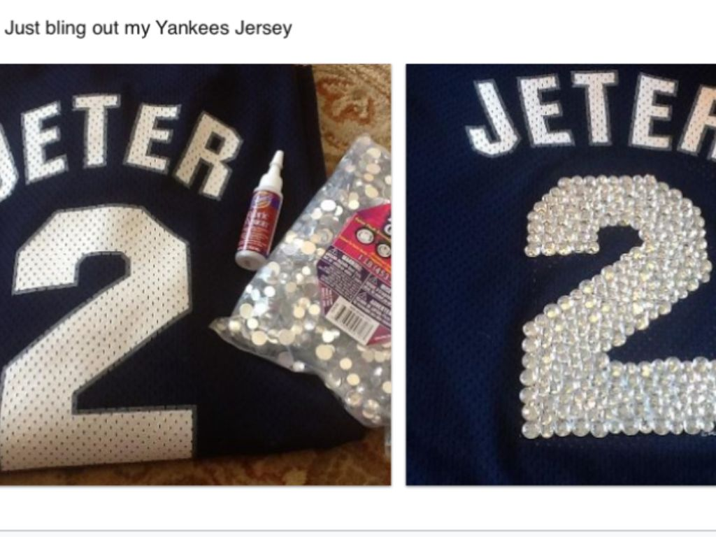 521946c9d Bling out my Yankees Jersey!! | MY STYLE | Diy clothes refashion ...