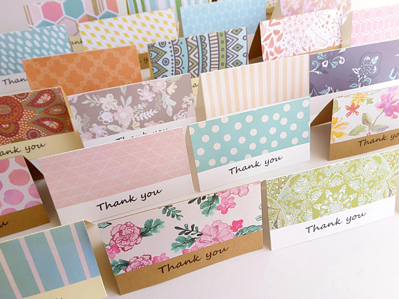 2 x 35 Mini Fold Thank You Cards with Envelope / Note Cards / Small