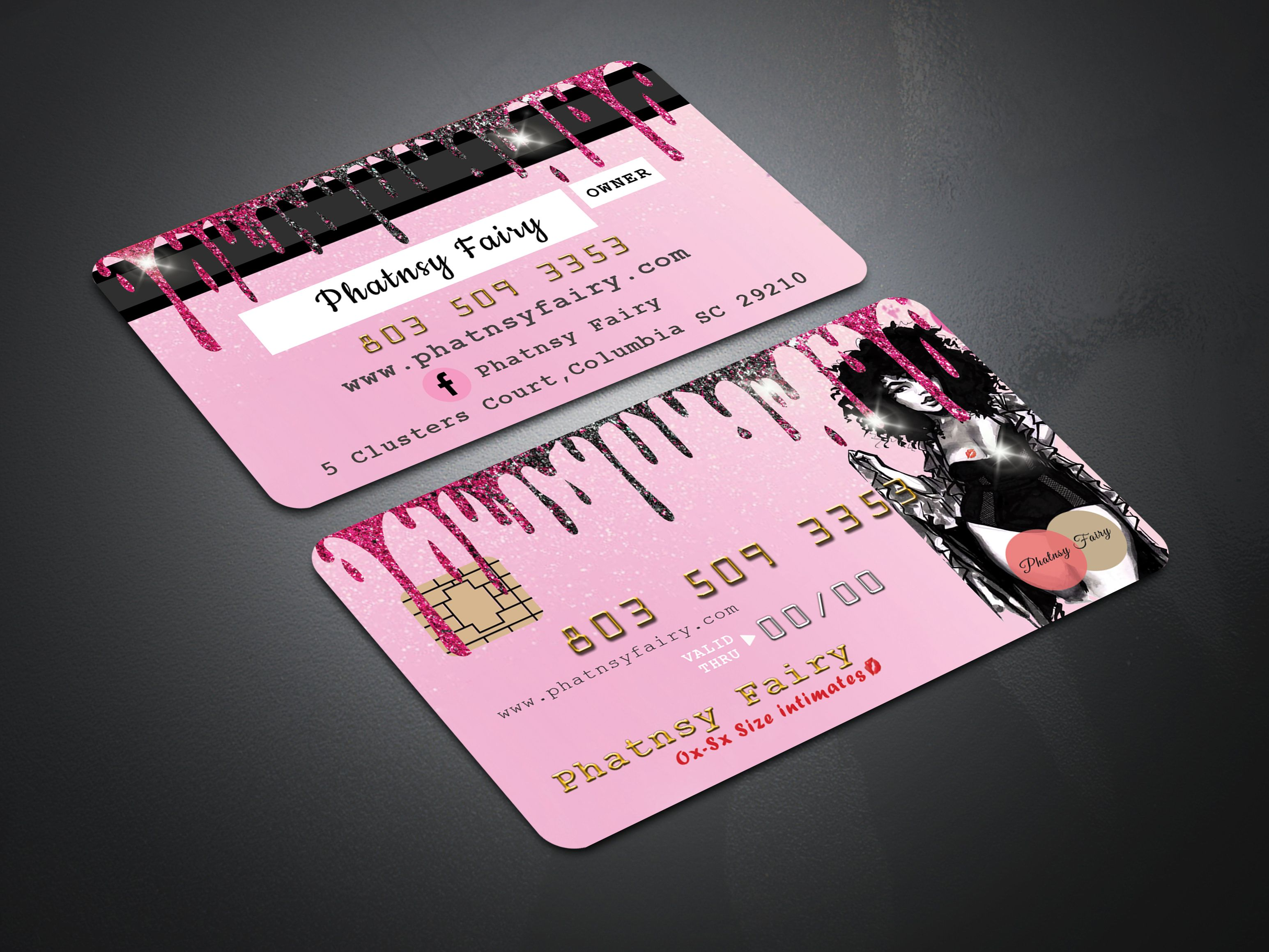 Hot Pink With Round Shape Credit Card Templates Card Templates Business Card Design Visiting Cards