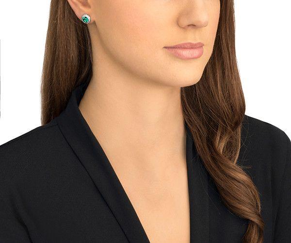 Angelic Pierced Earrings Green Rhodium Plated Jewelry