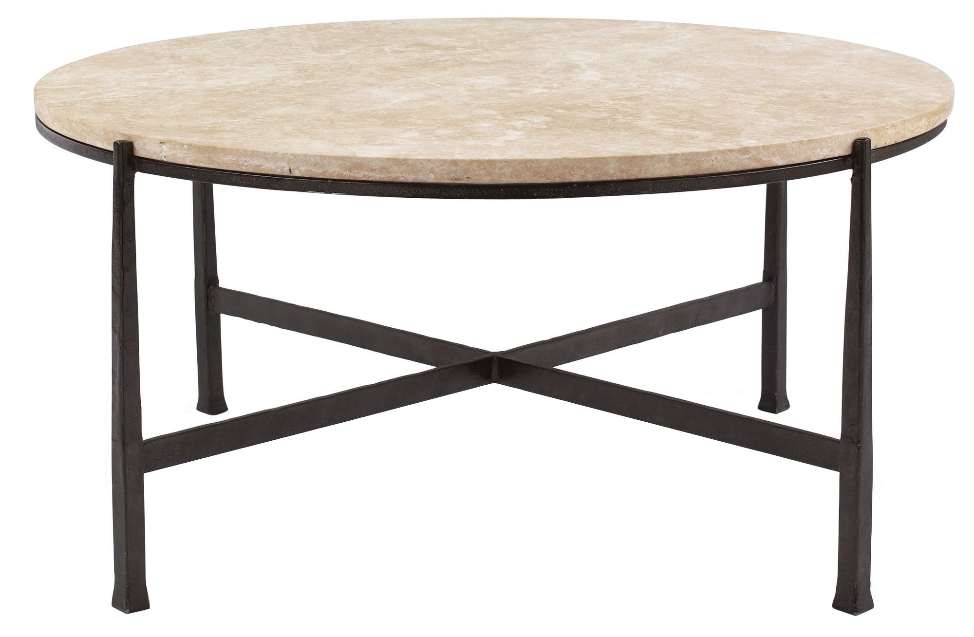 Round Metal Cocktail Table Base And Stone Top  Bernhardt 391319 Entrancing Stone Top Dining Room Tables Decorating Design