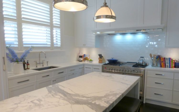 White Kitchen Marble Benchtop With Black Handles Google Search