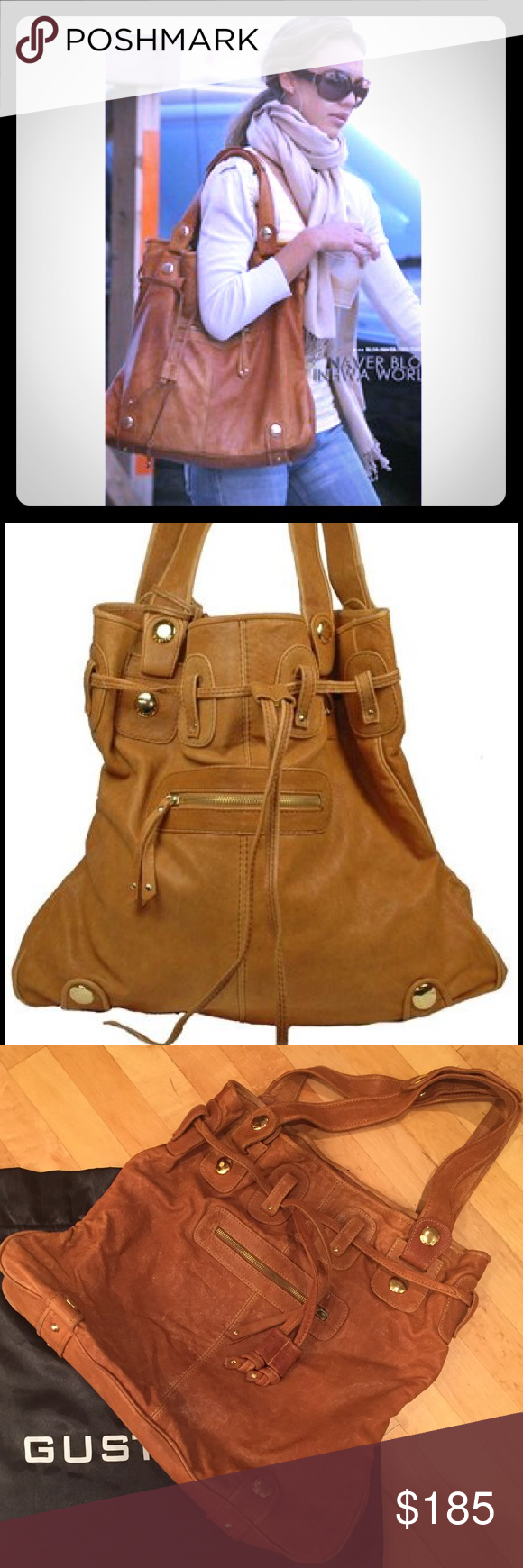 57bb6b5e13eb Gustto Parina leather tote bag Brown leather with gold hardware. Measures  18