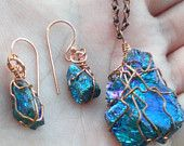 Chalcopyrite (Peacock Ore) Pendant and Earrings Jewelry Set