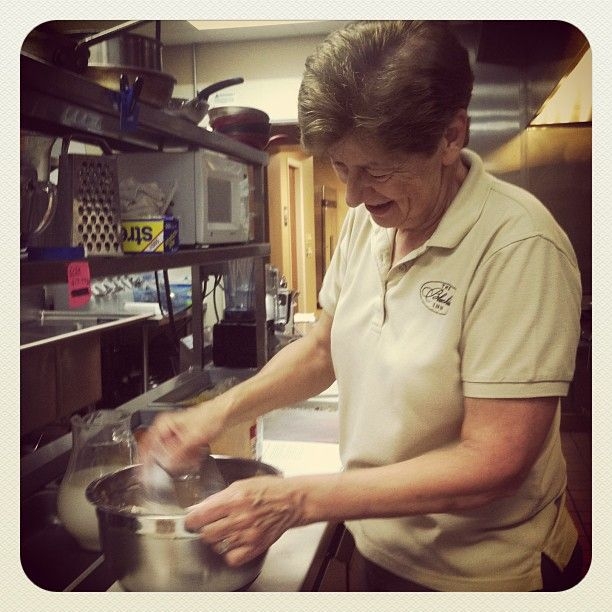 Pam churning out coffee cakes for our breakfast at the Bleckley Inn