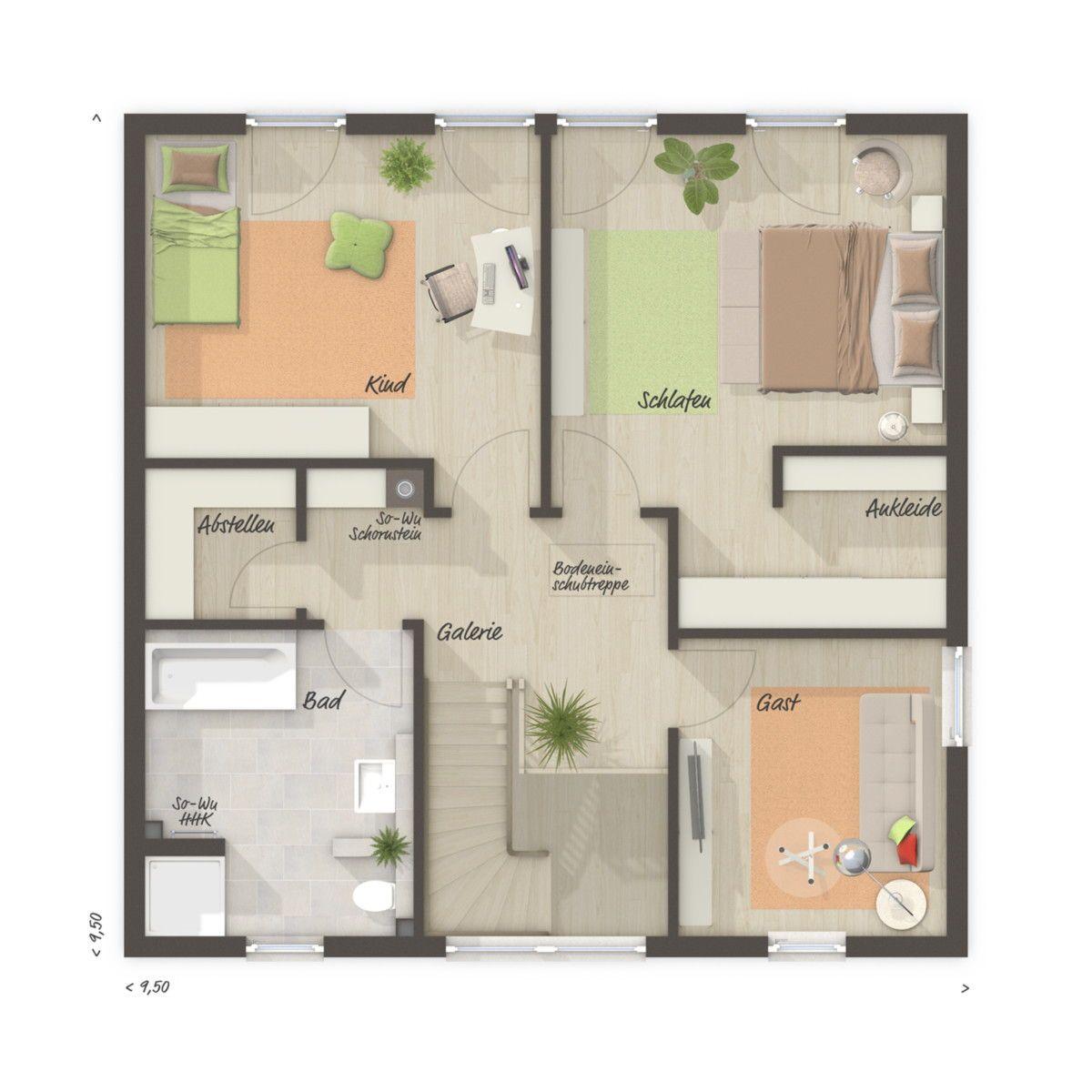 Stadtvilla Grundriss Obergeschoss mit Zeltdach & Galerie