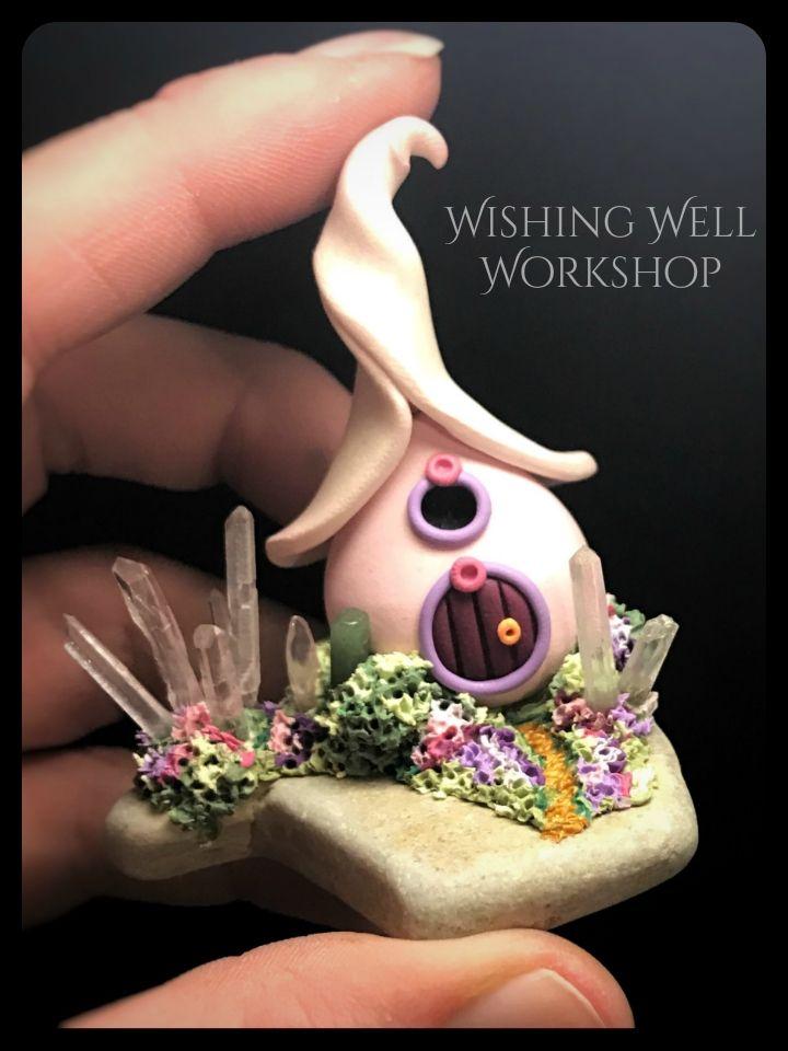 Polymer Clay Pink Crystal Fairy House-Wishing Well Workshop   Random ...