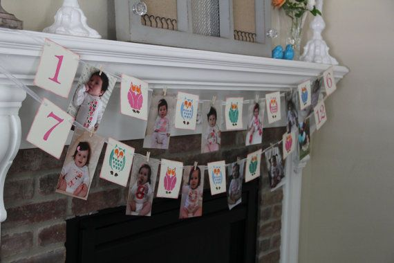 12 Month Photo Banner Year in Pictures Birthday by OneTinyHeart