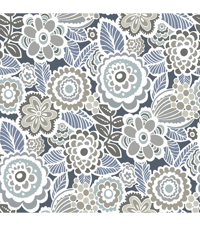 Wallpops Peel Stick Wallpaper Dream On Navy Joann Grey Floral Wallpaper Wallpaper Samples Peel And Stick Wallpaper