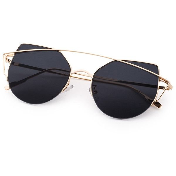 831a25f52e SheIn(sheinside) Gold Frame Double Bridge Black Cat Eye Sunglasses ( 11) ❤  liked on Polyvore featuring accessories