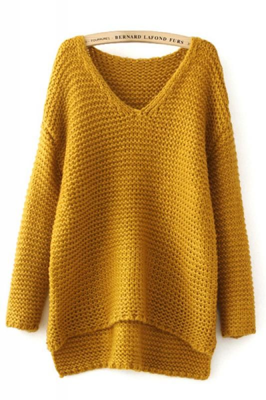 e6b18dd1580f56 High Low Hem Cable Knit V-neck Long Sleeve Loose Pullover Sweater ...