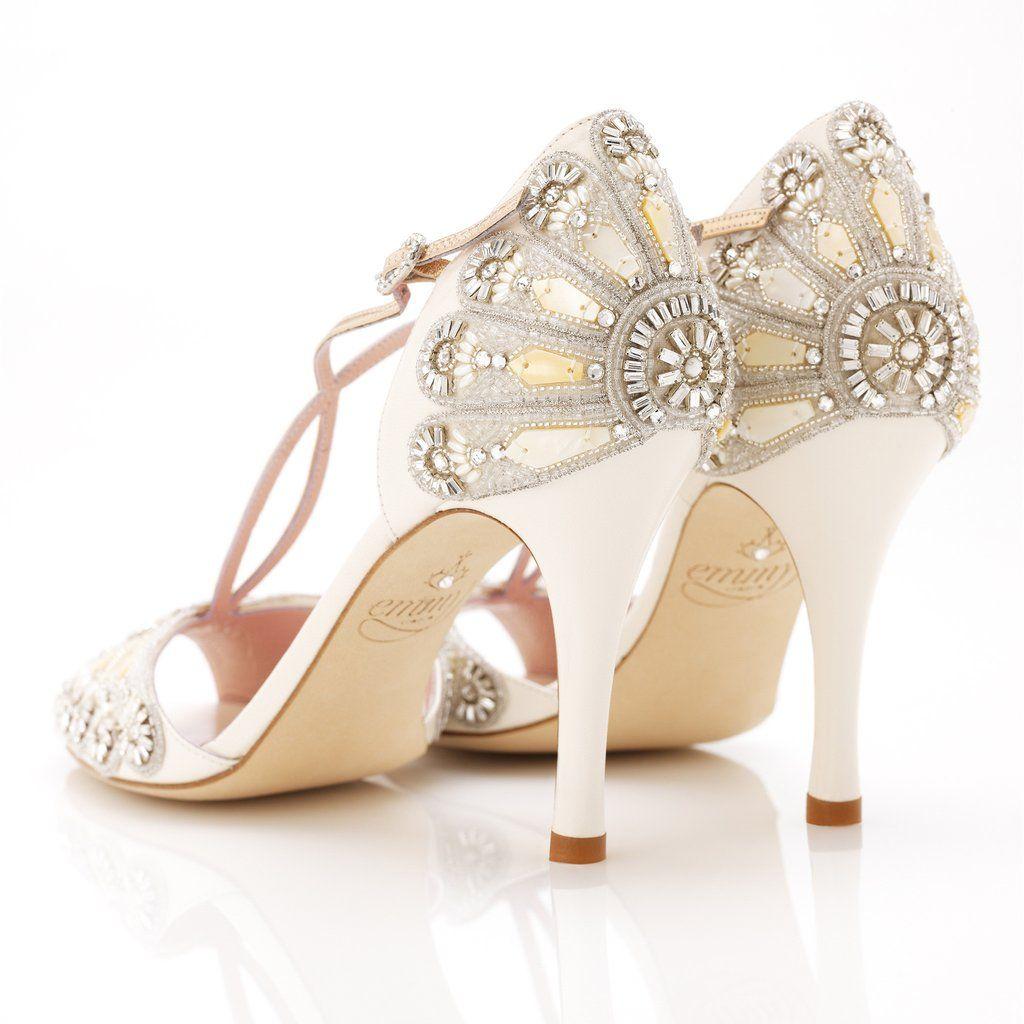 1920s wedding decoration ideas  Francesca  Bridal fabric Bugle beads and Bridal shoe
