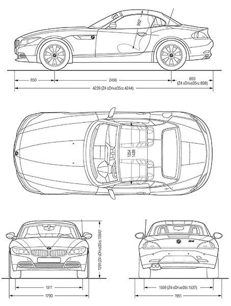 2010 Bmw Z4 Blueprint Poster Bmw Z4 Bmw Volkswagen