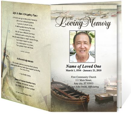 Fishing Sports Themed Single Fold Funeral Pamphlets Templates