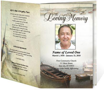 Fishing Sports Themed Single Fold Funeral Pamphlets Templates – Funeral Pamphlet Templates