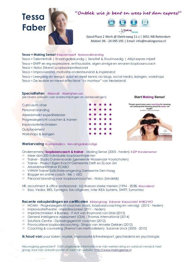 Tessa Faber Cv Van Een Cv Monteur Personal Branding Monteur Enfp