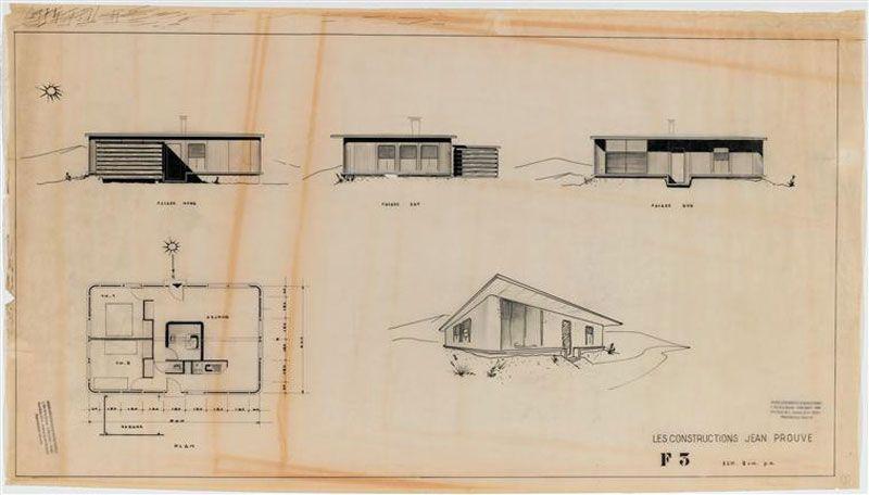 plan maison jean prouve. Black Bedroom Furniture Sets. Home Design Ideas