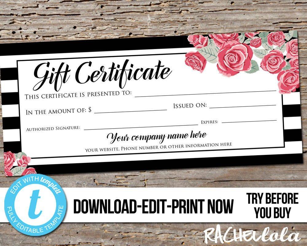 Editable custom printable gift certificate template