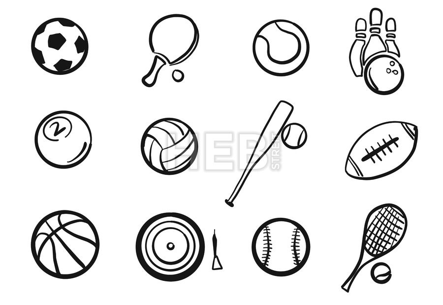 Various Balls Sports Equipment Sketched Set Hebstreits Sketches Sports Coloring Pages Sports Equipment How To Draw Hands