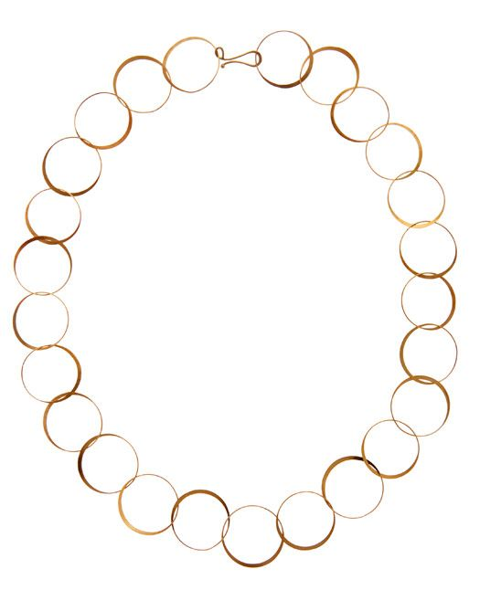 Melissa Joy Manning Gold Half Flat Lightweight Hand Forged Chain Necklace
