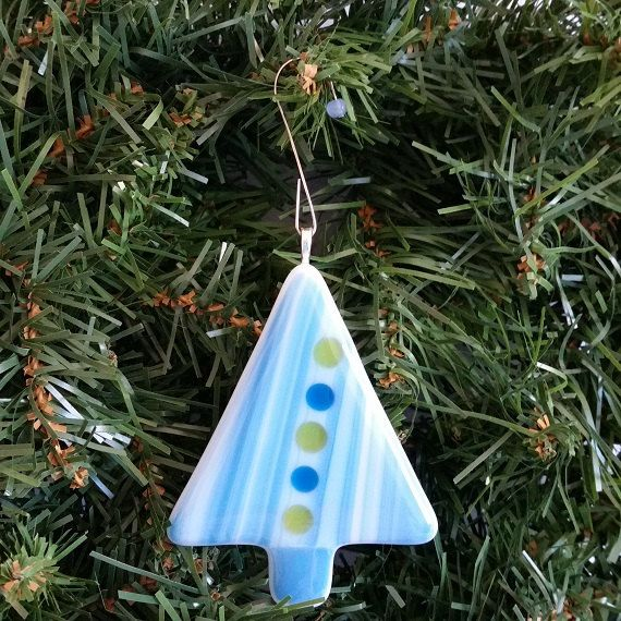 Fused Glass Christmas Tree Ornament by FiredEffects on Etsy, $12.00