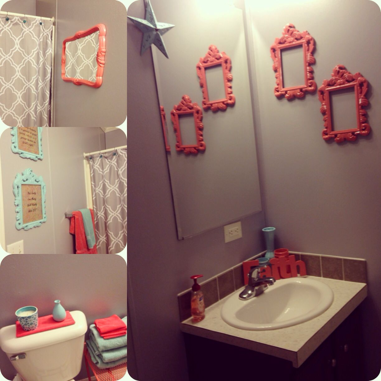 Bathroom Makeover W Coral Teal Gray Coral Bathroom Decor Gray Bathroom Decor Grey Bathrooms