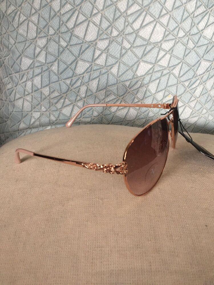 d37e4cb23418 19V69 Italia Versace 1969 RGD Camila Gold/Rose Aviator Design Sunglasses  NWT | eBay