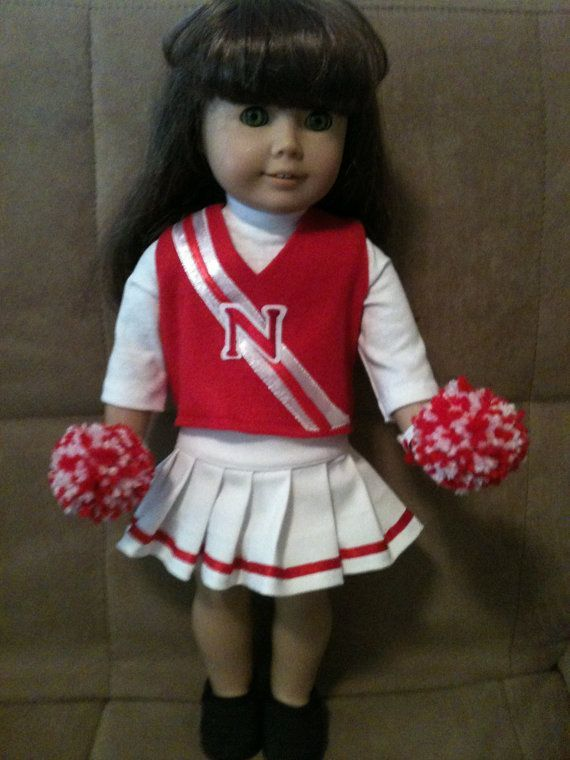 18 inch doll (modeled by American Girl) Nebraska Cornhuskers cheerleading outfit #18inchcheerleaderclothes 18 inch doll modeled by American Girl Nebraska by peggysprozac, $20.00 #18inchcheerleaderclothes