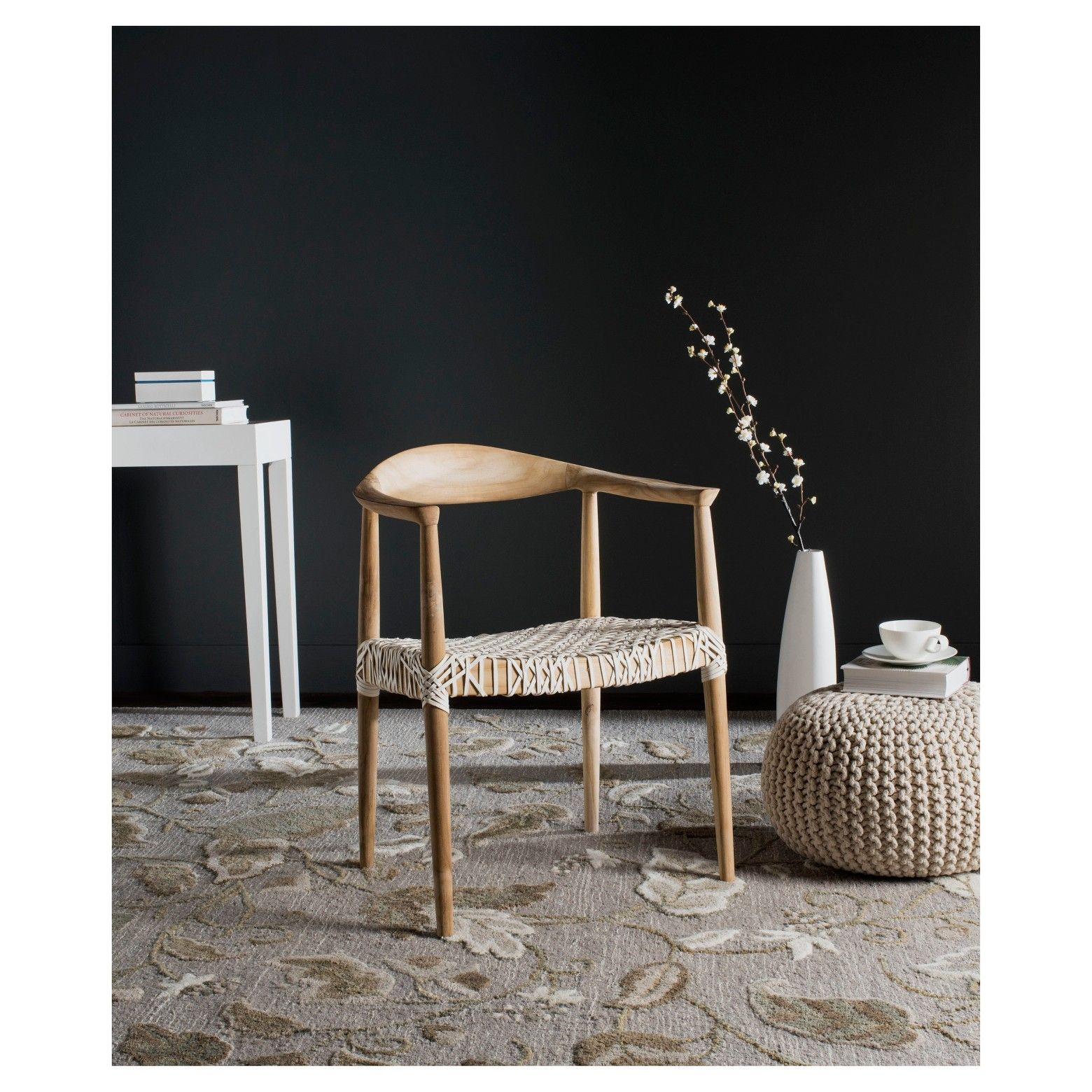 Fes arm chair whiteteak safavieh solid wood dining