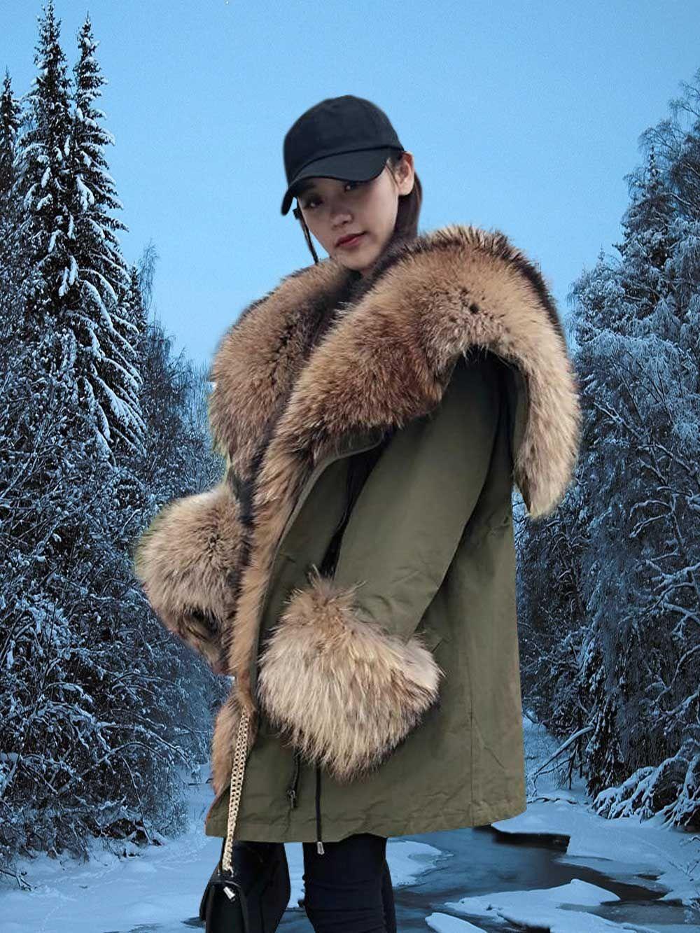 Stylish Olive Parka With Extra Large Raccoon Fur Hood Fur Hood Fur Coats Women Parka