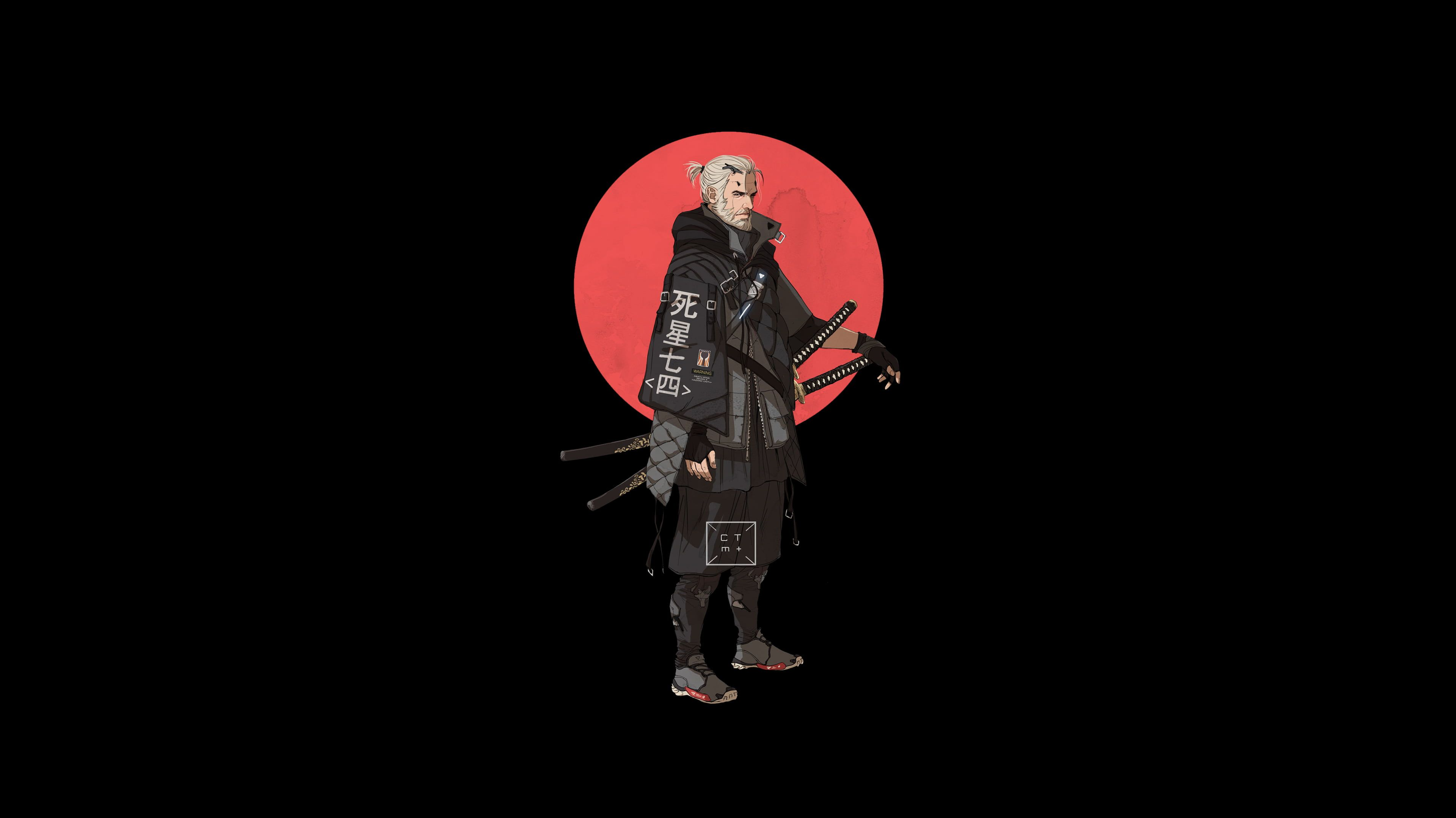 Hd Wallpaper The Witcher Japanese Characters Katana Geralt Of Rivia Aestethic In 2020 Japanese Characters The Witcher Wallpaper