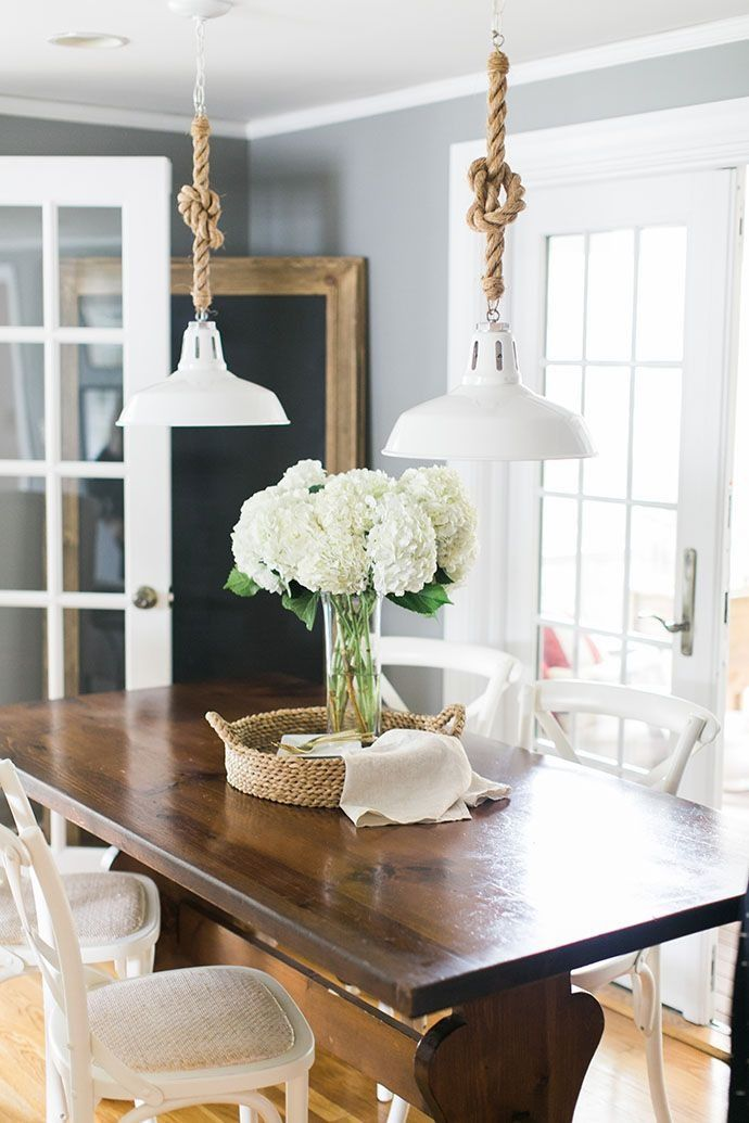 Create A Coastal Look In Your Dining Room By Suspending Pendant Lights From Knotted Rope
