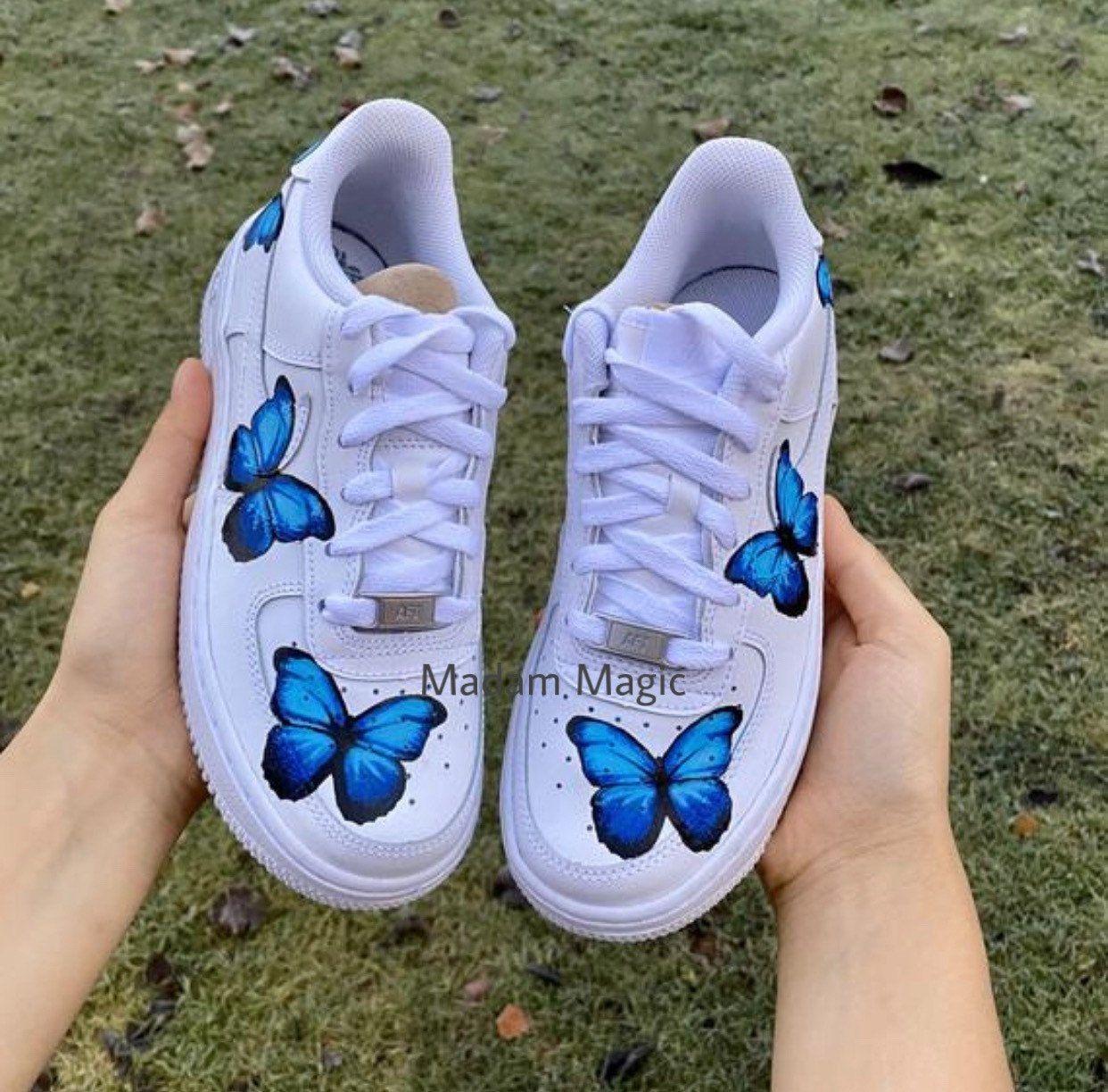 Custom Nike Air Force 1 Low Triple Blue Butterfly Air
