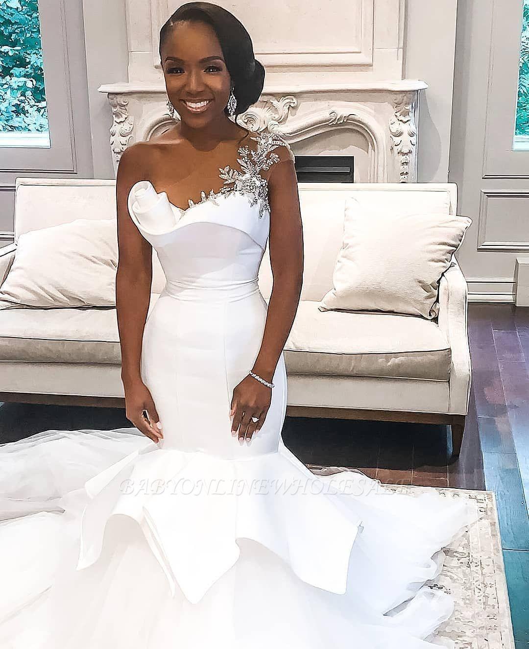 One Shoulder White Mermaid Bridal Gowns With Ruffle Train Wedding Dresses Mermaid Wedding Dress Bridal Dresses [ 1325 x 1080 Pixel ]