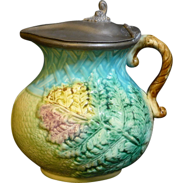 Pewter Lidded Majolica American Pitcher with a red, green and pink fern and a turquoise basket weave