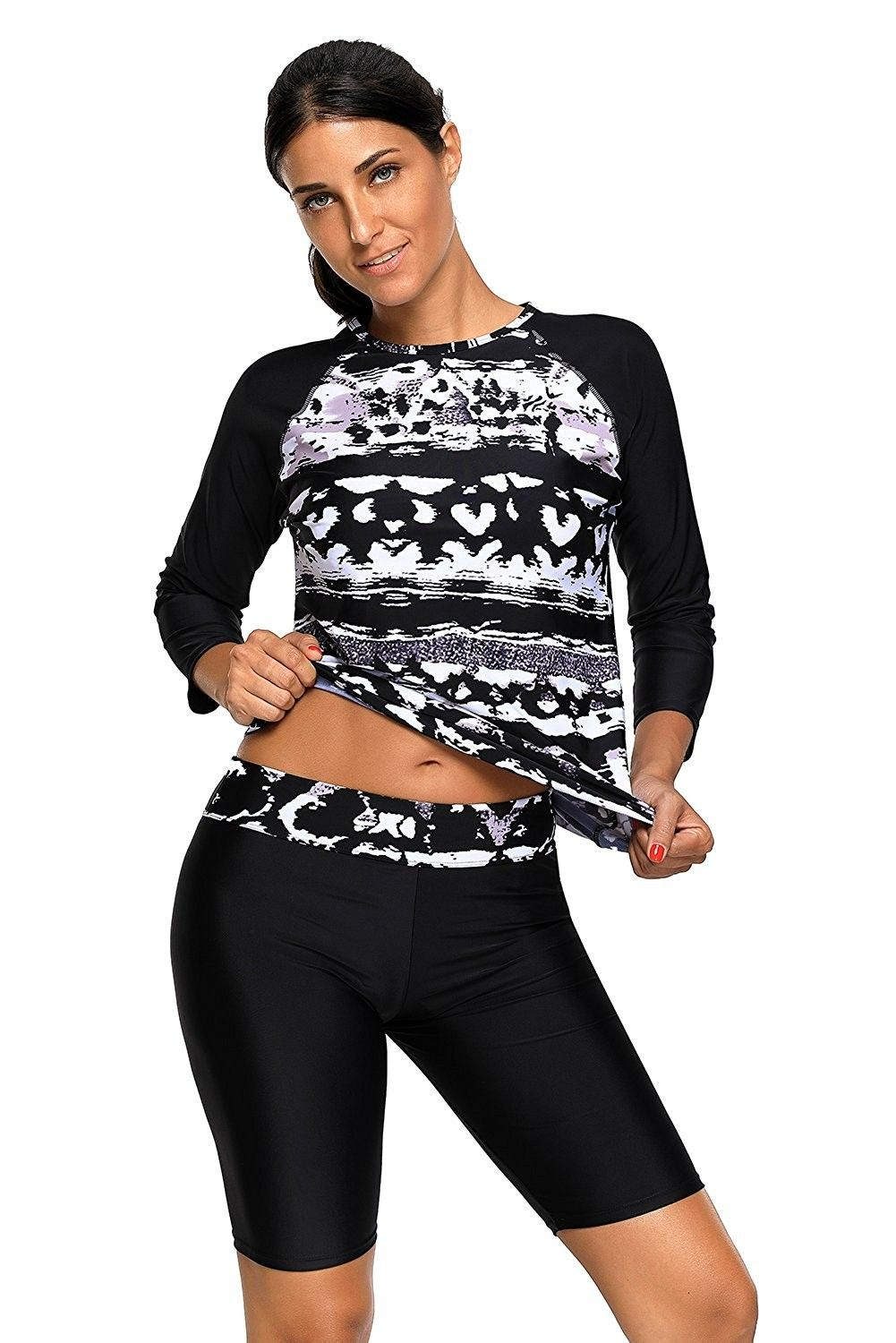 62aa78ee18 Women's Clothing, Swimsuits & Cover Ups, Rash Guards, Women's Printed Long  Sleeve Rash Guard Top and Capri Pants Two Piece Swimsuit Set - Black ...