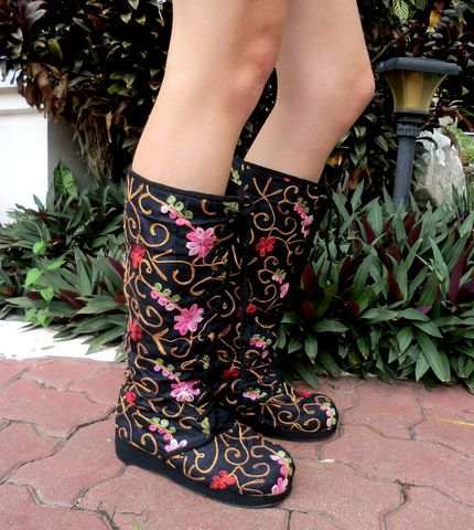 anja black floral womens vegan boot embroidered lace up