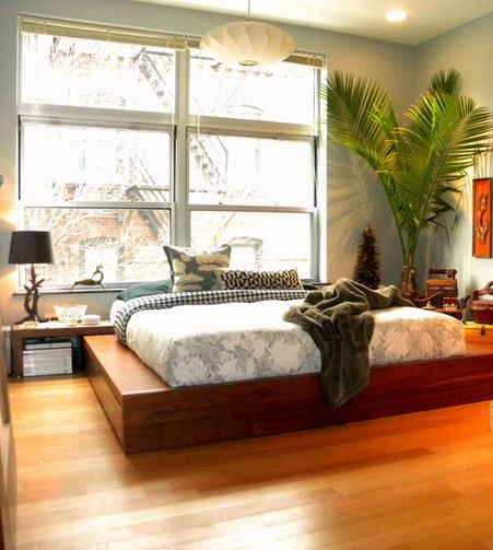 Classic Wooden White Bedding Sets And Indoor Plants In Small Asian Bedroom