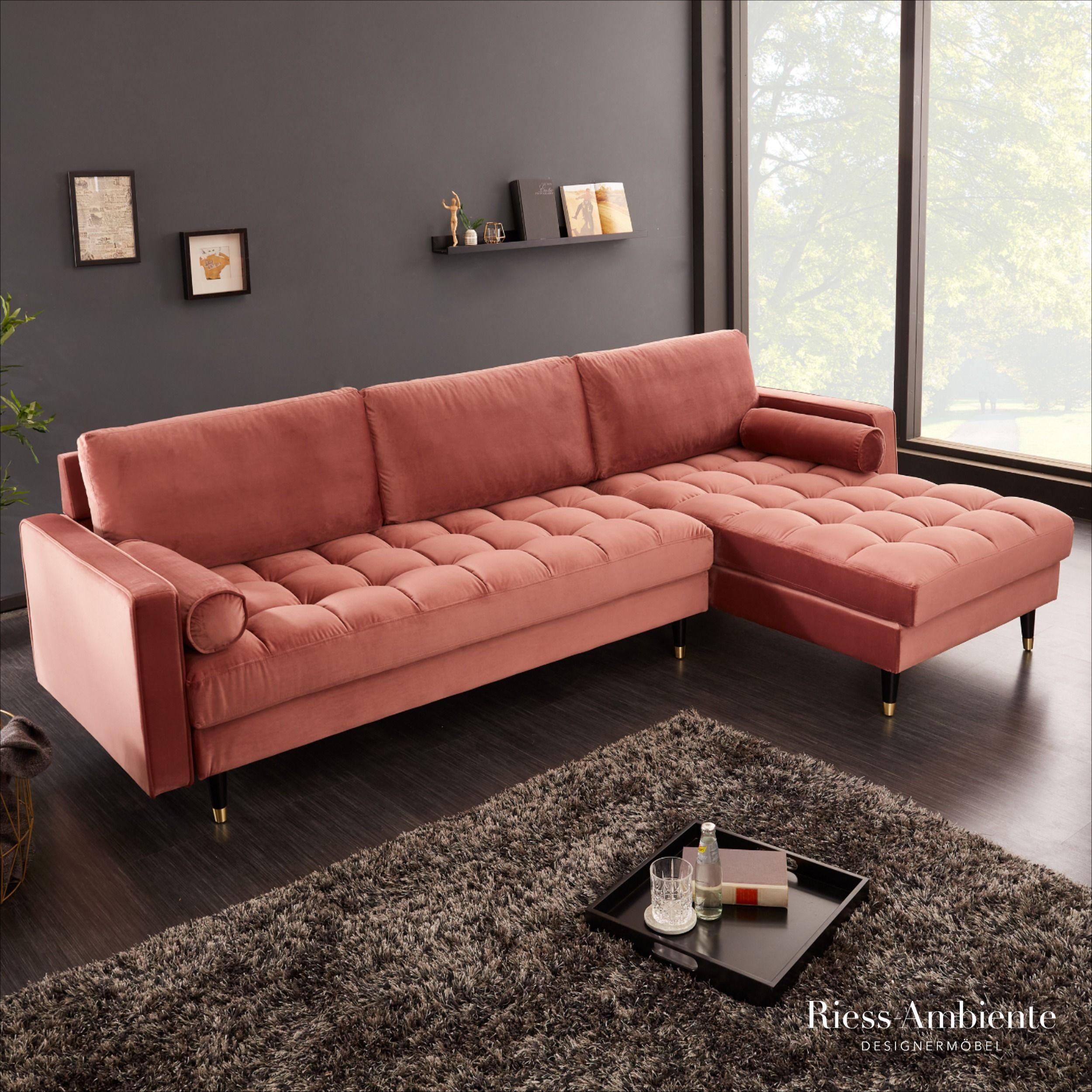 Elegantes Ecksofa Cozy Velvet 260cm Altrosa Samt Federkern 3er Sofa In 2020 3er Sofa Ecksofa Schlafzimmer Design