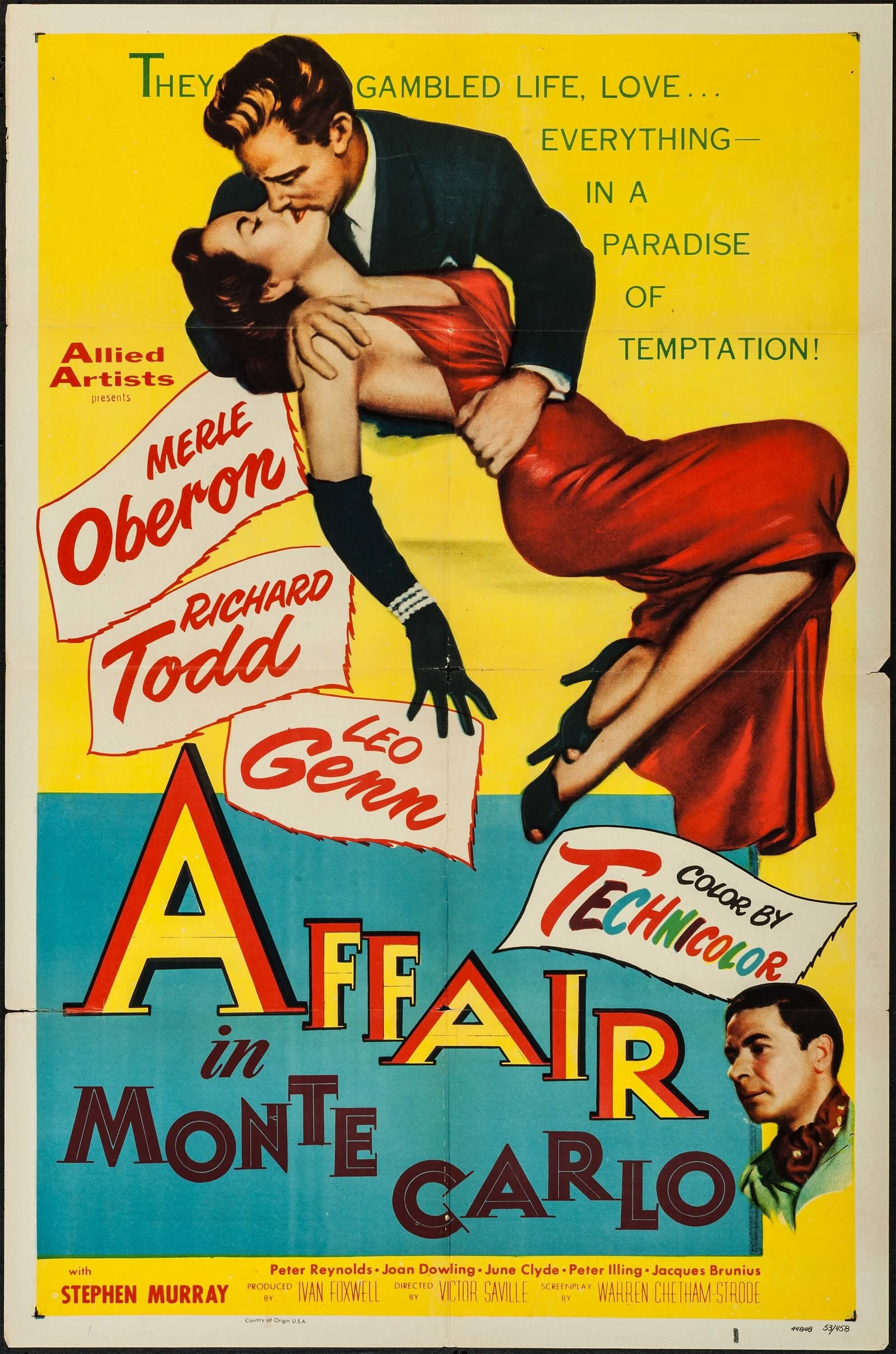 """Affair in Monte Carlo (Allied Artists, 1953). One Sheet (27"""" X 41"""")."""