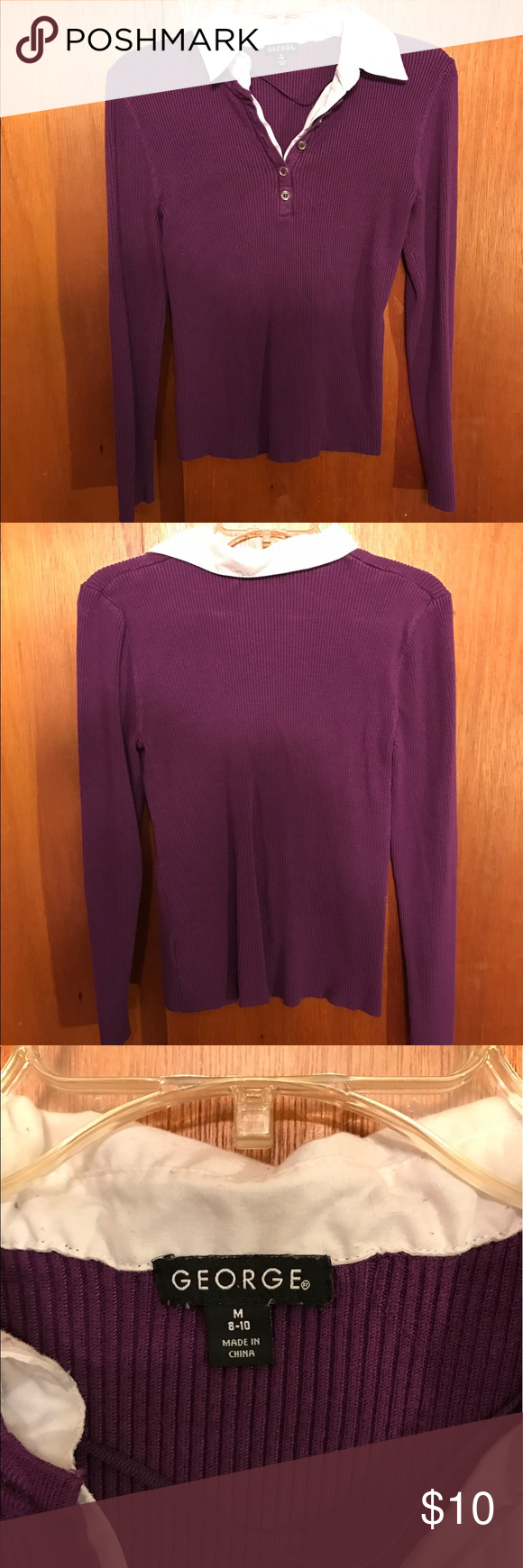 George shirt Bright purple, ribbed sweater with collar and half ...