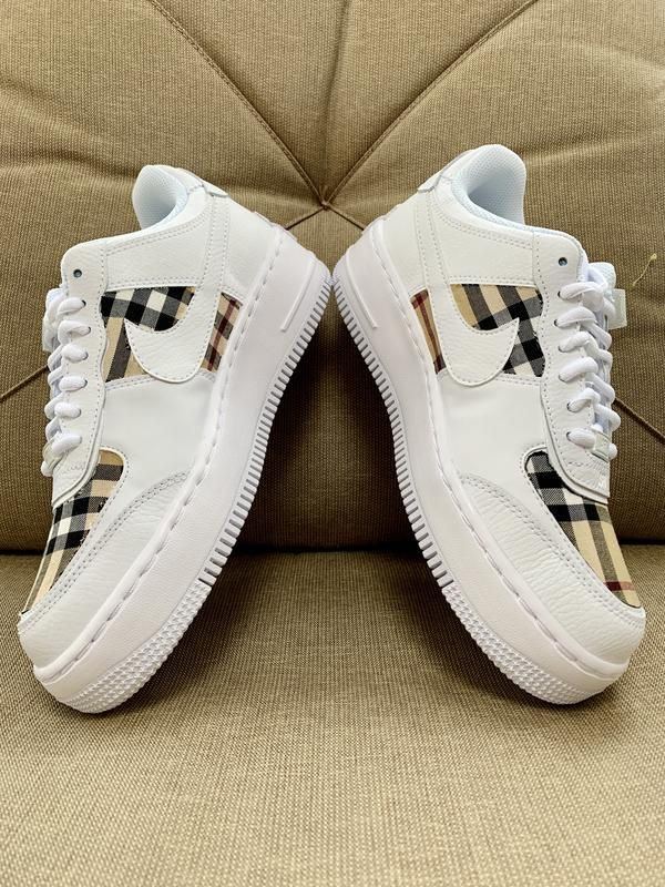 Burberry AF1s Shadow White in 2020 Custom nike shoes