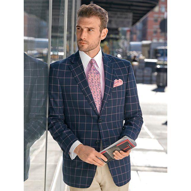 Navy Windowpane Cotton Sport Coat | Valentine's Day Style ...