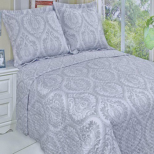 3pc Modern Moroccan Light Grey Quilt Coverlet Bedding Set Full ... : oversized quilts and coverlets - Adamdwight.com