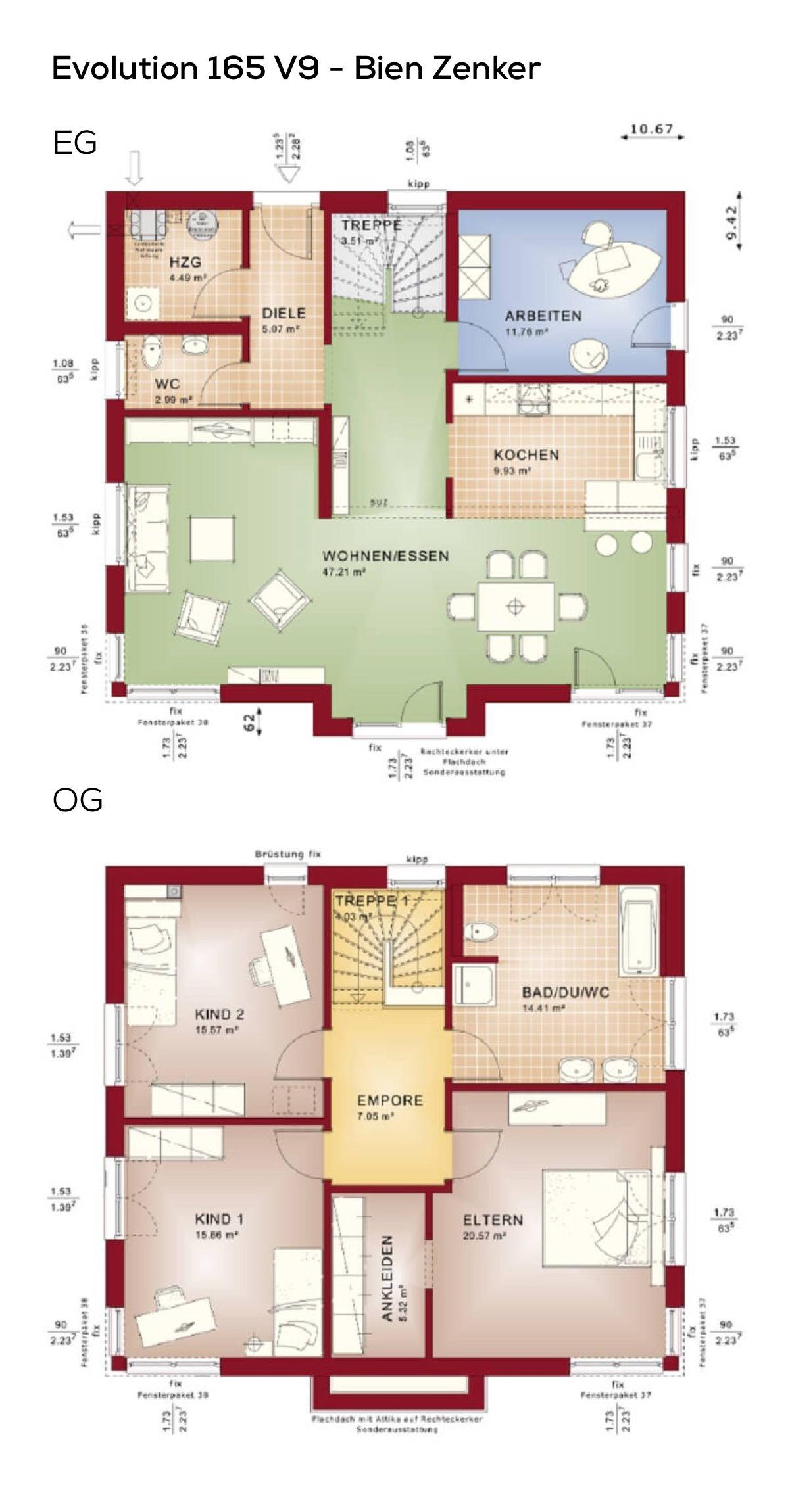 Grundriss Stadtvilla modern mit Flachdach Architektur 6