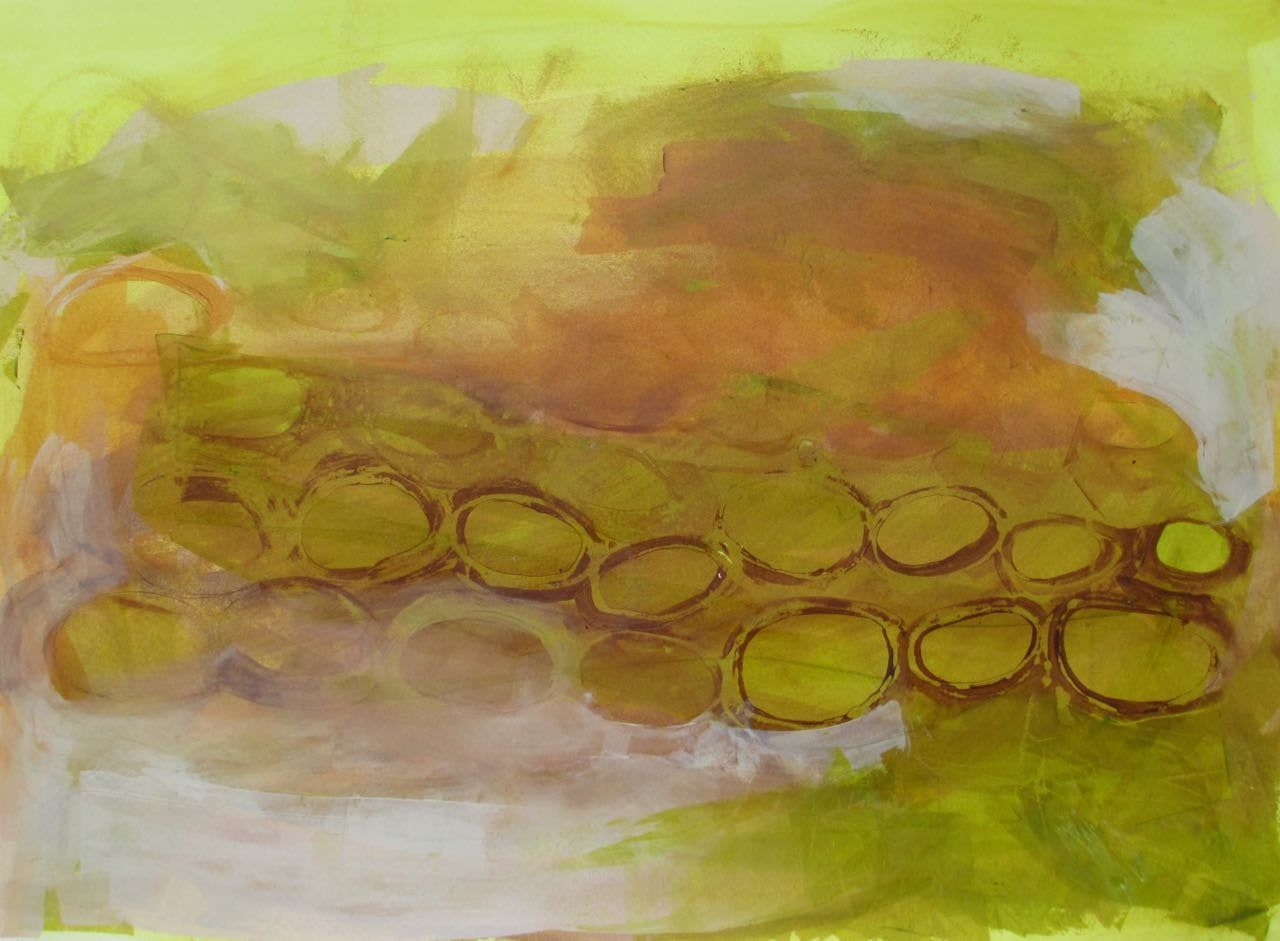 Abstract acrylic painting cellular painting lime green art